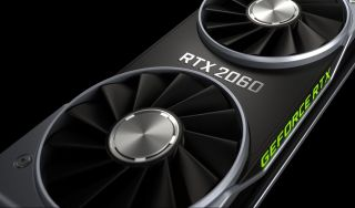Nvidia RTX 2060 Founders Edition graphics card on a black background