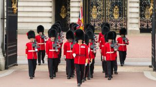 The Coldstream Guard takes part in the ceremonial Changing of the Guards at Buckingham Palace in 2016.