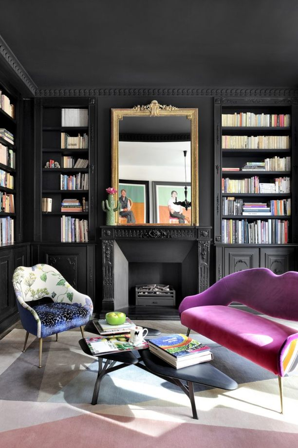 . Moody And Dramatic Dark Living Room Ideas and Paint Inspiration