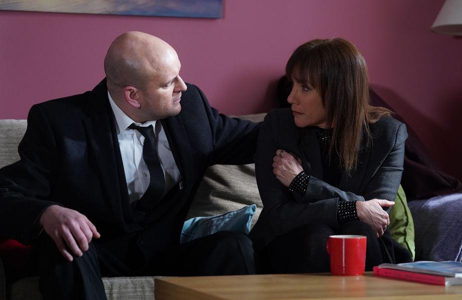 Stuart reassures Rainie Branning in EastEnders