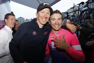 Sep Vanmarcke (left) congratulates EF Pro Cycling teammate Alberto Bettiol after his victory at the 2019 Tour of Flanders
