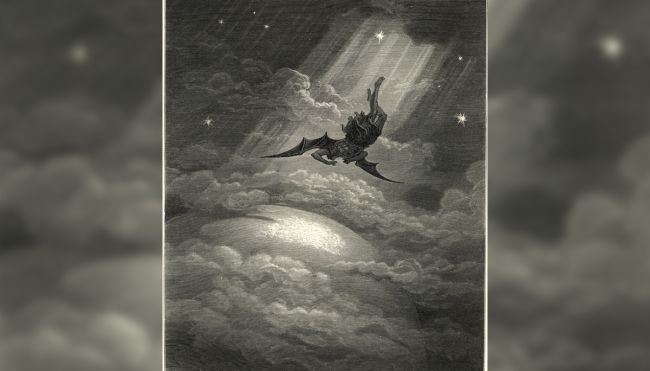 "In this vintage engraving, Gustave Dore illustrates Satan flying to Earth from Milton's epic ""Paradise Lost."""