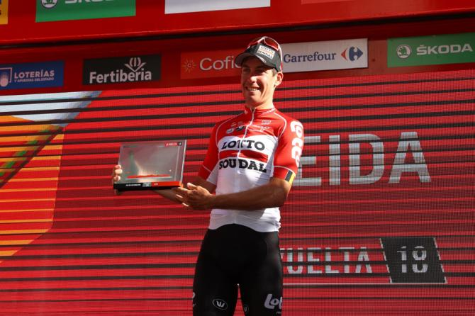 Jelle Wallays (Lotto Soudal) enjoys his moment on the podium