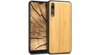 Front and back view of the Kwmobile Wooden Protective Cover for Huawei P20 Pro