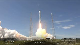 A SpaceX Falcon 9 rocket carrying 58 Starlink internet satellites and three Planet SkySat Earth-observation satellites launches from Space Launch Complex 40 at Cape Canaveral Air Force Station in Florida on Aug. 18, 2020.