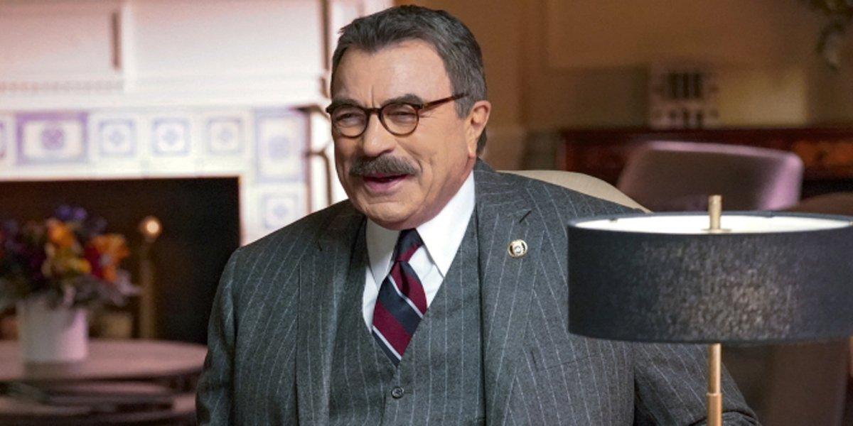 Tom Selleck laughing as Frank Reagan in Blue Bloods Season 10 CBS