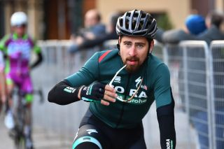 MADONNA DI CAMPIGLIO ITALY OCTOBER 21 Arrival Peter Sagan of Slovakia and Team Bora Hansgrohe during the 103rd Giro dItalia 2020 Stage 17 a 203km stage from Bassano del Grappa to Madonna di Campiglio 1514m girodiitalia Giro on October 21 2020 in Madonna di Campiglio Italy Photo by Stuart FranklinGetty Images