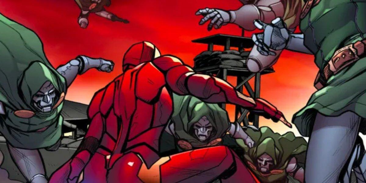 Ironheart fighting Doctor Doom clones