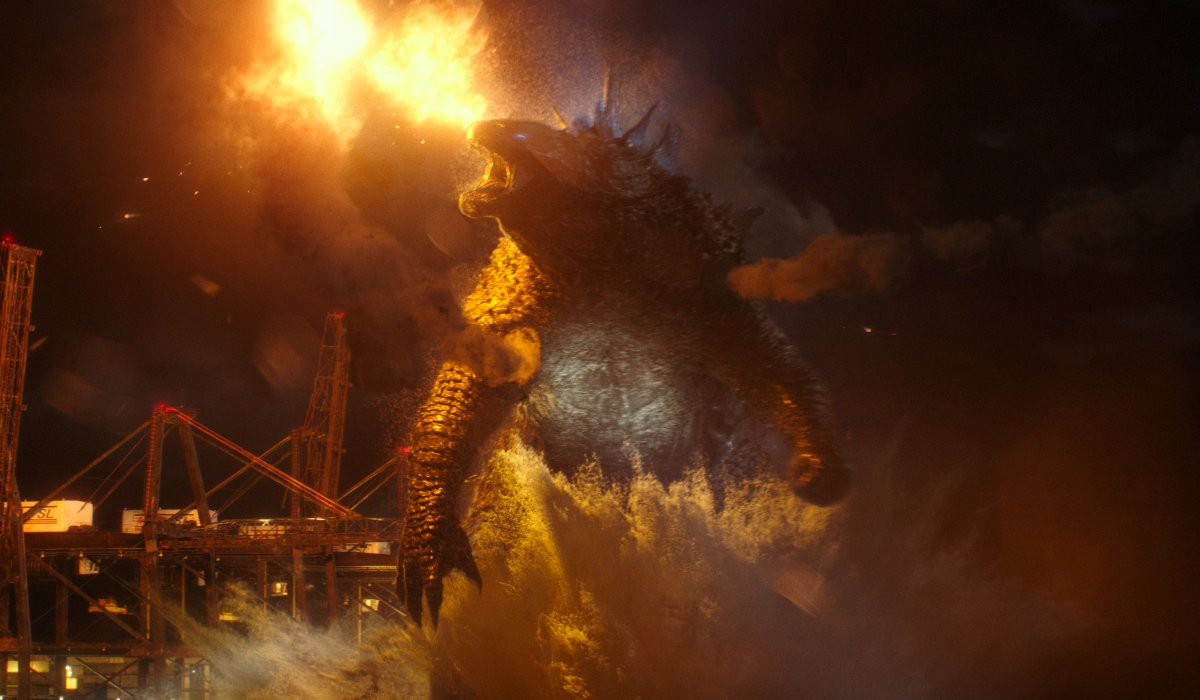 Godzilla rampages through an Apex facility in Godzilla vs. Kong.