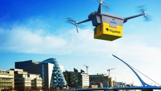 5G drone being used for delivery.