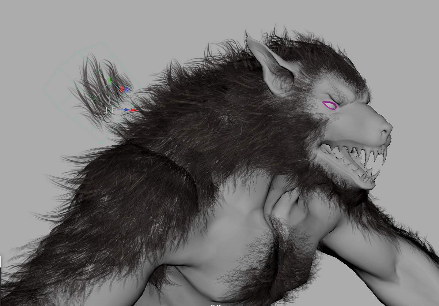 3D werewolf model with hair being attached