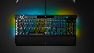 Corsair K100 keyboard with RGB lighting turned on