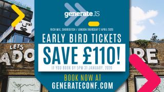 An image announcing the launch of GenerateJS on 2 April 2020. The message reads that you can save £110 if you buy before 5pm 31 January 2020.