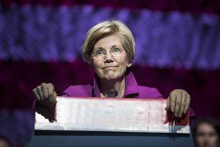 Sen. Elizabeth Warren (D-Mass.) speaks at a rally on March 31, 2017, in Boston, Massachusetts.