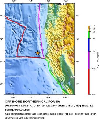 Map of Aug. 9 Northern California quake.