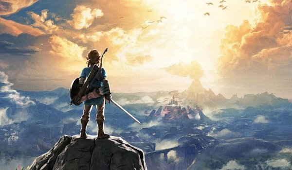 Link on a hill overlooking Hyrule in Breath of the Wild