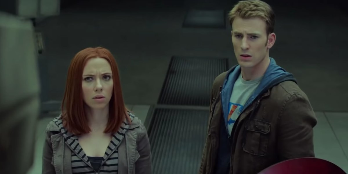 Scarlett Johansson and Chris Evans in Captain America: The Winter Soldier