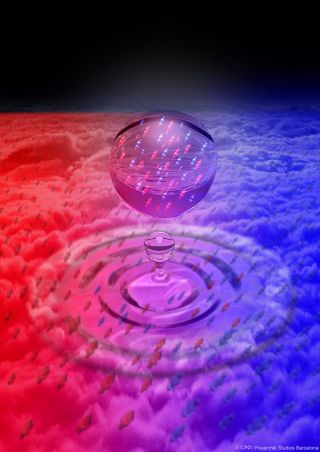This artist's rendering depicts a quantum liquid droplet formed by mixing two condensates of ultracold potassium atoms.