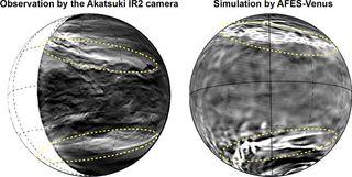 Venus' lower-level clouds have symmetrical streaks.