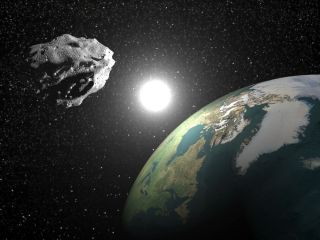 An artist's concept of an asteroid, poised to strike the Earth.