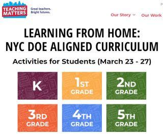 Screenshot of Teaching Matters NYC DOE Aligned curriculum