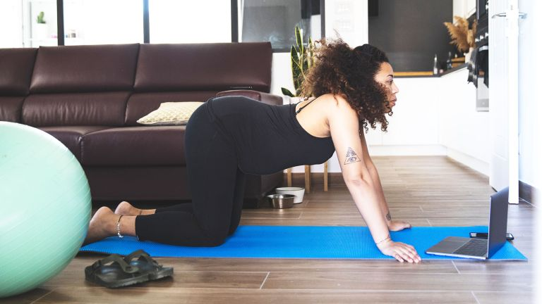 Pregnant woman doing pelvic floor exercises