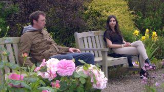 Meena Jutla talks to Liam Cunningham in Emmerdale