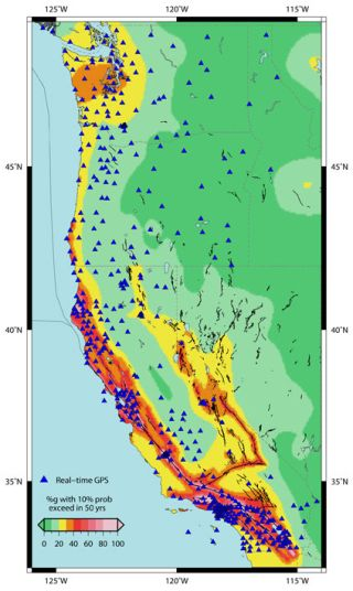 Location of the more than 500 real-time GPS monitoring stations in the western United States that make up the Real-Time Earthquake Analysis for Disaster Mitigation Network.