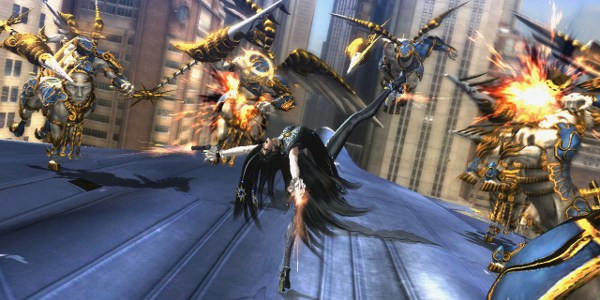 Bayonetta battling on top of fighter jet