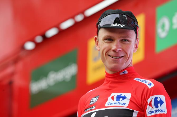All smiles from Chris Froome after the Sky captain collected another red jersey