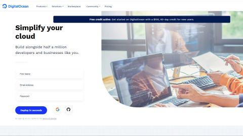 DigitalOcean's homepage