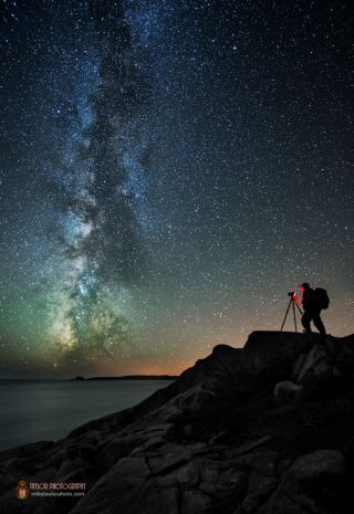 Astrophotographer Under Milky Way Over Bold Coast Maine