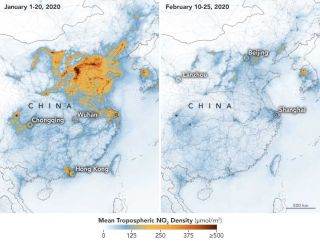 A map shows the sharp decline in emissions over China between early January and late February as parts of the country went on lockdown in an attempt to contain the COVID-19 coronavirus.