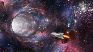 An artist's depiction of traveling through a wormhole.