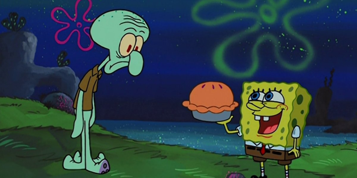 Spongebob and Squidward in Dying for Pie in Spongebob Squarepants.