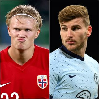 Compositve image of Erling Braut Haaland and Timo Werner