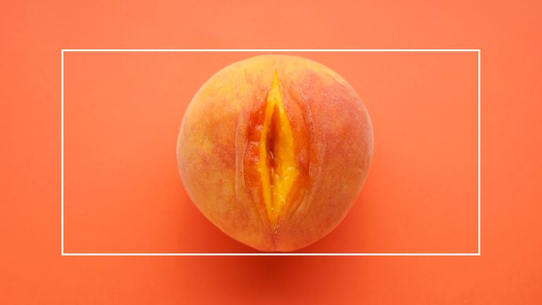 open peach on orange background