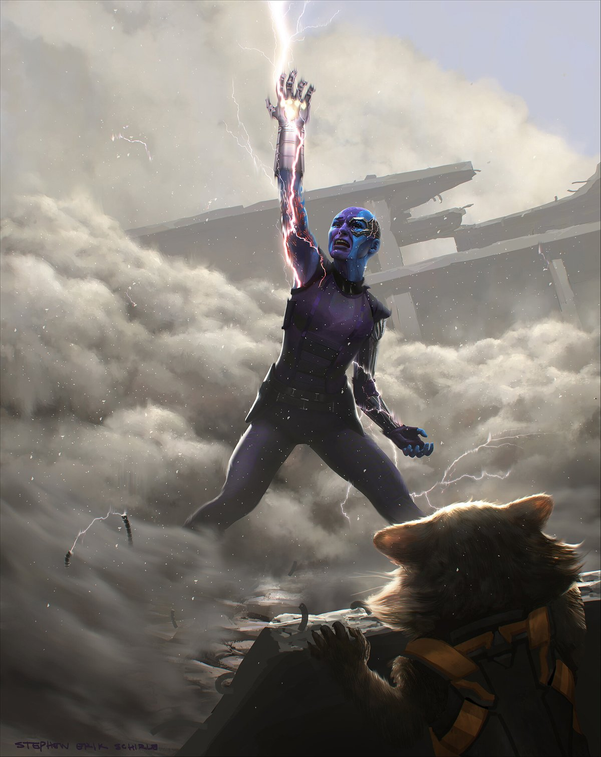 Nebula wears Infinity Gauntlet in Avengers: Endgame concept art by Stephen Schirle