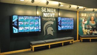MSU's basketball wall of fame, located in the Frances Cleaves Family Center, highlights notable Spartan alumni from the Tom Izzo era.