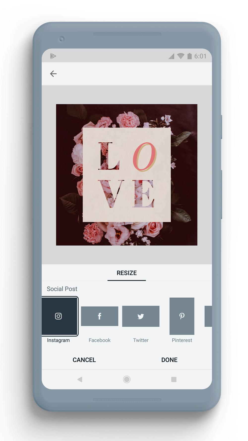 Adobe Spark Post on smartphone screen