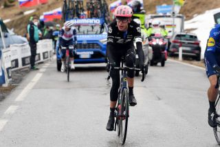 CORTINA DAMPEZZO ITALY MAY 24 Hugh Carthy of United Kingdom and Team EF Education Nippo passing through Passo Giau 2233m during the 104th Giro dItalia 2021 Stage 16 a 153km stage shortened due to bad weather conditions from Sacile to Cortina dAmpezzo 1210m girodiitalia Giro on May 24 2021 in Cortina dAmpezzo Italy Photo by Tim de WaeleGetty Images