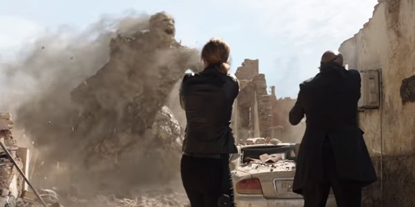 Spider-Man Far From Home Maria Hill and Nick Fury fight Earth Elemental