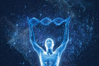 A human form holding a DNA strand