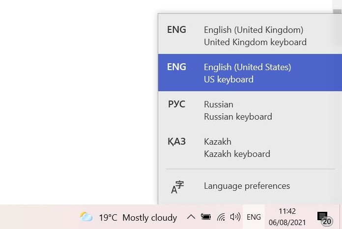 How to change keyboard language in Windows - switch languages