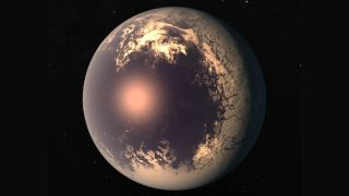 An example of an eyeball-like exoplanet with an ocean on one side and an icy shell on the other.