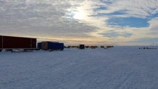 The field location including the tents and labs set up at Subglacial Lake Whillans, in Antarctica.