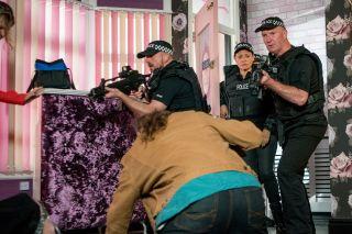 Armed police point guns at Jan Lozinski in Coronation Street spoilers, Jan