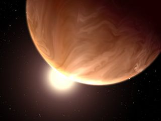 An artist's illustration of the alien planet GJ 1214b, a 'super-Earth' more than six times the mass of Earth that appears to be covered with high clouds, according to Hubble Space Telescope data. Image released Dec. 31, 2013.
