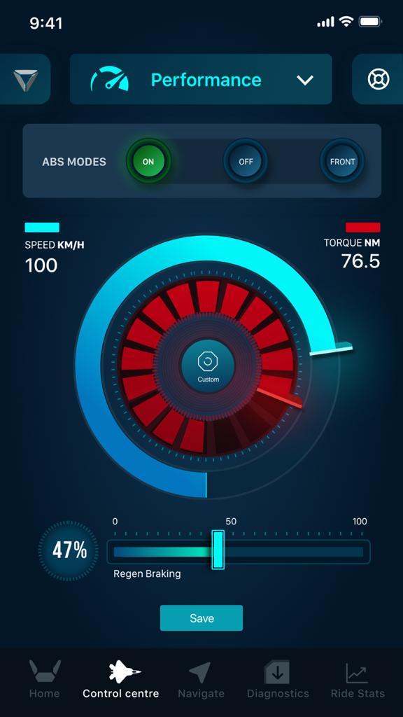 Ultraviolette F77 app interface