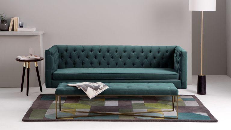 The best ottomans: Julianne velvet ottoman with matching sofa